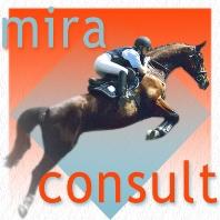 Logo miraconsult e.U. : ein Team - bestehend aus Reiter und Pferd - am Sprung nach oben.