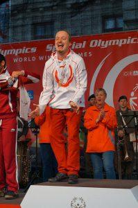 Siegerehrung Gold für Christoph Sagl, Eisschnellauf 500m