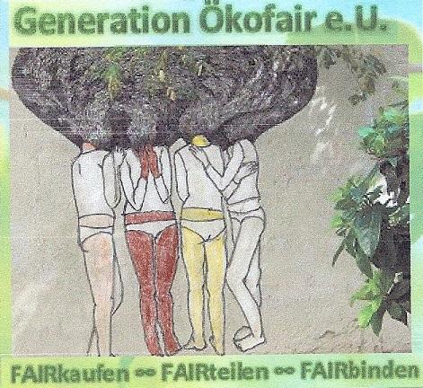 Logo der Generation Ökofair - Motto ist FAIRkaufen-FAIRhandeln-FAIRbinden