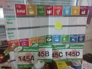 Die Startnummern von Team miraconsult vom Benefizlauf in Kalsdorf, vor dem Plakat der 17 Ziele für nachhaltige Entwicklung.
