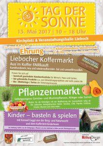 Plakat zum Tag der Sonne, 13.Mai 2017 in Lieboch. Auf dem Programm stehen die Ehrung der Gemeinde, der Liebocher Koffermarkt, der Pflanzenmarkt und eine Bastel- und Spielecke für Kinder.