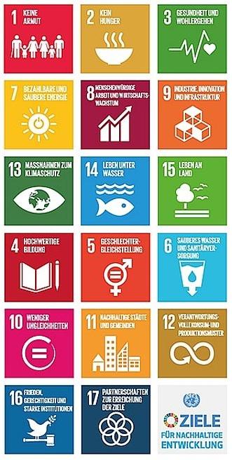 Abbildung der 17 globalen nachhaltigen Entwicklungsziele durch Symbole