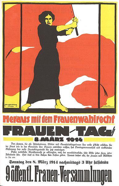 Plakat vom Frauentag am 8. März 1914