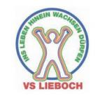 """Logo der Volksschule Lieboch, mit dem Schriftzug: """"Ins Leben hinein wachsen dürfen"""""""
