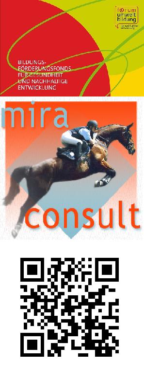 Logo miraconsult und Bildungsförderungsfond mit QR-Code